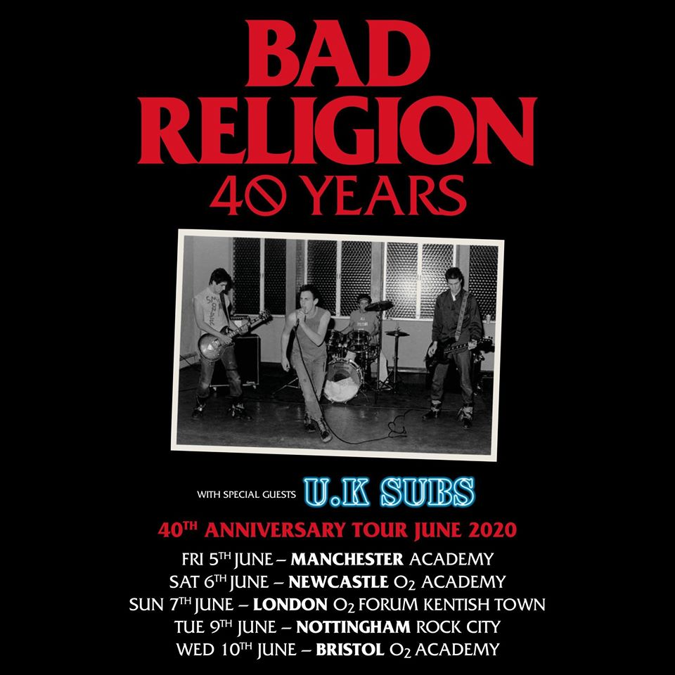 Bad Religion 40th anniversary tour poster - click to enlarge