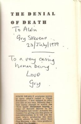 The inscribed title page of the book Guy gave me just prior to him producing 'London Calling' for the Clash. I later cut out and glued in the press cutting from Record Mirror, in the Summer of 1979. Click image to enlarge.