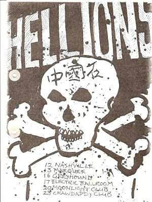 Flyer listing forthcoming Hellions' shows, 1980. Click image to enlarge