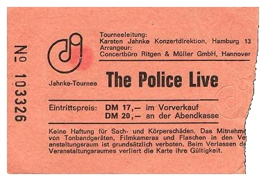 Ticket for the Brains' support slot to The Police in Hannover, 19 April 1980 taken from Sting's website - click image to enlarge
