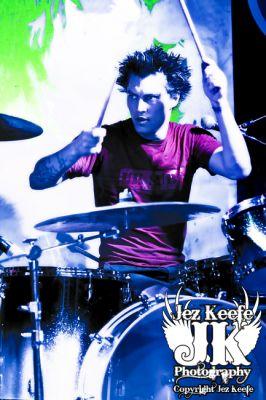 Jamie Oliver - drums- click image to enlarge. Photograph courtesy of Jez Keefe. No copying of Jez's work without permission. www.jezkeefephotography.com