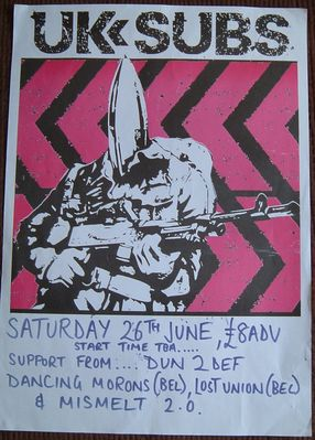Gig poster from venue on the day