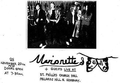 Flyer for a Marionette gig Nov 1975 - click to enlarge