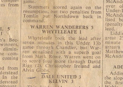The only remaining piece of evidence for my goal scoring prowess with Warren Wanderers - click image to enlarge