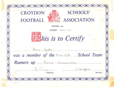 Having won the Premiere Croydon Schools Championship the previous season, we only managed to attain the runners-up position for season 1972-73 - click image to enlarge