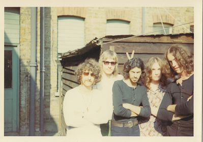 Chralie Harper's Free Press, left to right: Larry Norris - rhythm guitar, John Wiczling – drums, Charlie Harper – bass, Julie Tanner - vocals and Steve Gibson - lead guitar - CLICK THIS IMAGE TO ENLARGE