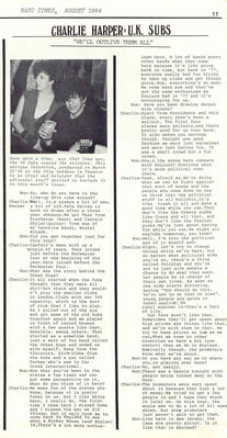 Hard Times Vol 1 No 1 (August 1984) Charlie Harper Interview p11