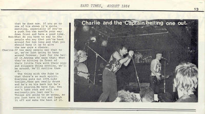 Hard Times Vol 1 No 1 (August 1984) Charlie Harper Interview p13