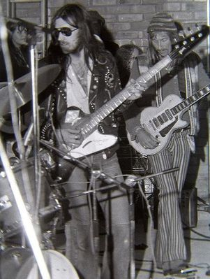 Lemmy & Dave Brock - Hawkwind - Harlow Town Park 1973. This photo was used in the 2010 Lemmy movie