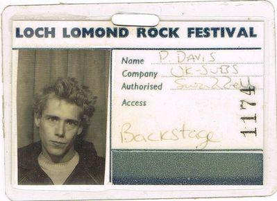 Pete Davies Backstage Pass