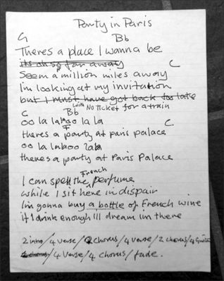 Rough draft of the lyrics for Party in Paris by Charlie. Click to  enlarge. Photo by Paul Mileman