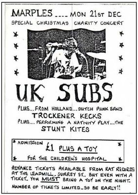 Original flyer for UK Subs Marples gig - click image to enlarge