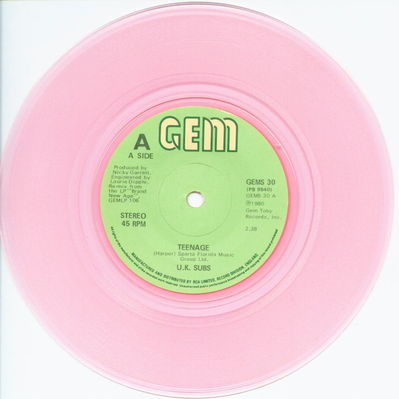 Pink vinyl solid centre A-side
