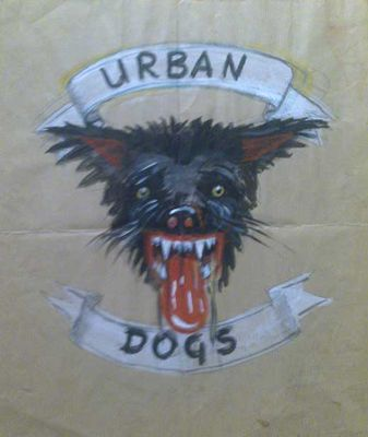 This is an old Urban Dogs T-shirt design, handpainted by Knox. Around a dozen were made - click image to enlarge