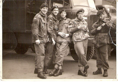 My father, far left and my uncle John (3rd from left) take time off from throwing themselves out of airplanes for a photograph - click image to enlarge