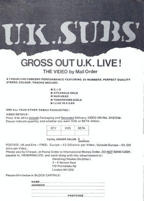 Gross Out U.K order form