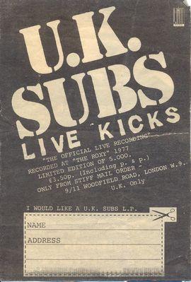 Live Kicks order form
