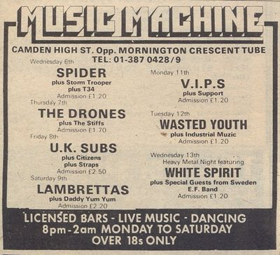 Gig Ad, Melody Maker, 9th August 1980