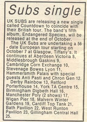 Single release and tour news story, Record Mirror, 3rd October 1981