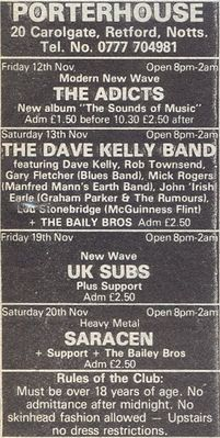 Gig advert, Sounds, 13th November 1982