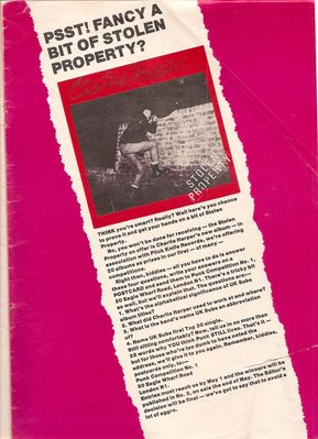 Competition to win the Stolen Property LP in Punk Lives magazine issue 1 - From the David Ensminger collection - click to enlarge